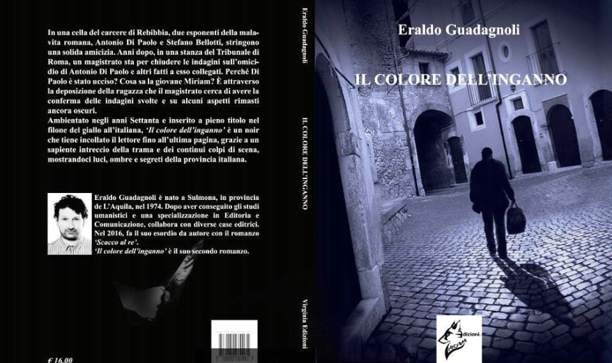 """Copertina completa di """"ll colore dell'inganno"""" di Eraldo Guadagnoli."""